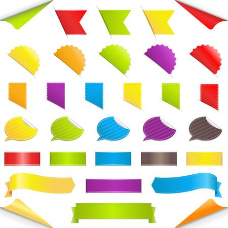 Set Stickers, Isolated On White Background Vector