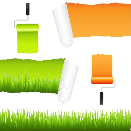 Grass And Paper Elements, Isolated On White Background, Vector Illustration