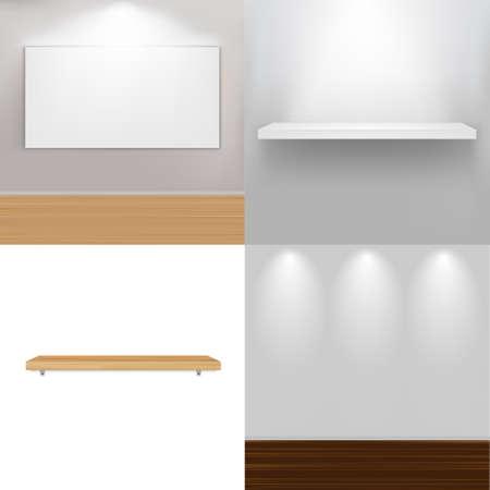 estanterias: elementos interiores, ilustraci�n vectorial Vectores