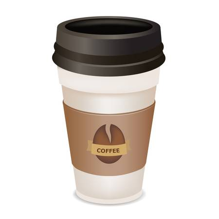 Plastic Coffee Cup, Isolated On White Background, Vector Illustration Stock Vector - 9572010