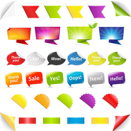paper graphic: Big Set Stickers And Ribbons, Isolated On White Background, Vector Illustration