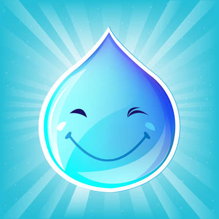 Smiling Drop Of Water And Sunburst, Vector Illustration Vector