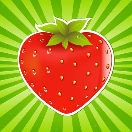 Strawberry And Sunburst, Vector Illustration