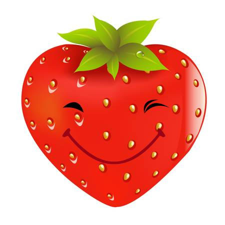 Cartoon Strawberry, Isolated On White Background, Vector Illustration  Vector