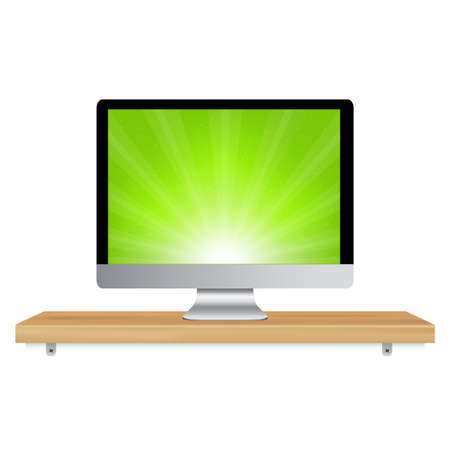 Monitor Icon Wooden Shelf, Isolated On White Background, Vector Illustration Stock Vector - 9616111