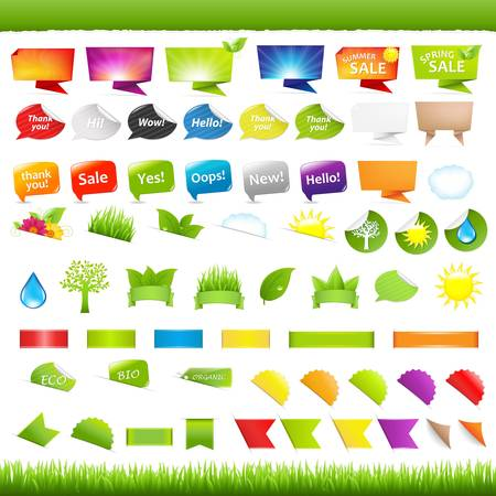 Big Set Nature Symbols, Stickers And Ribbons, Isolated On White Background, Vector Illustration Stock Vector - 9616112