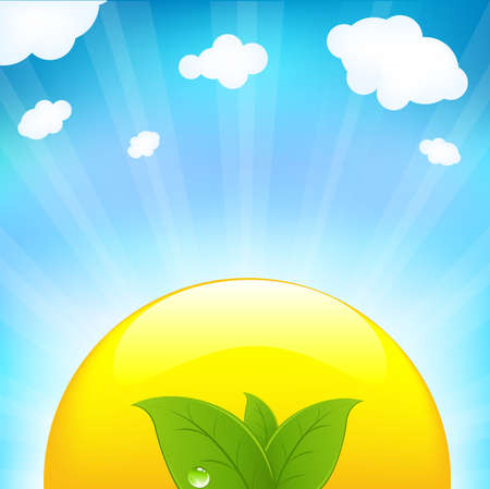 Sun With Beams And Sprout, Vector Illustration Stock Vector - 9616102
