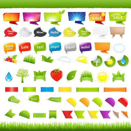 Big Set Nature Symbols, Stickers And Ribbons, Isolated On White Background, Vector Illustration