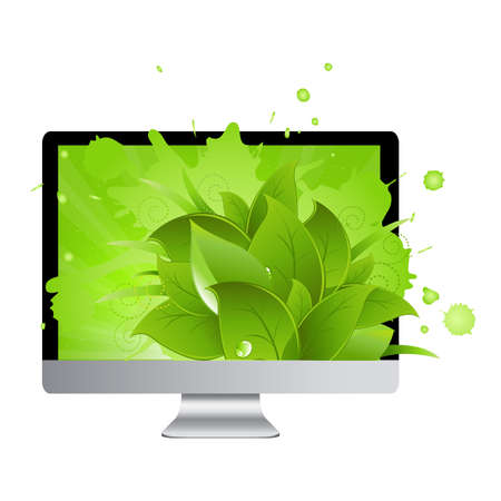 Icon Of Monitor With Leaves, Isolated On White Background, Vector Illustration Stock Vector - 9616120