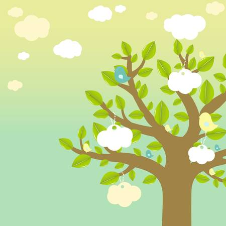 Cartoon Tree And Bird Vector
