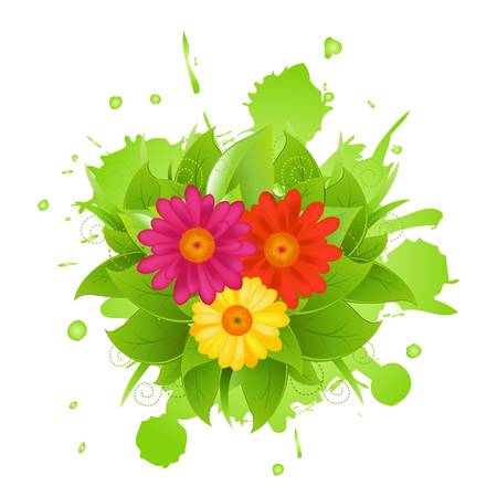 Abstract Flowers And Blot Vector