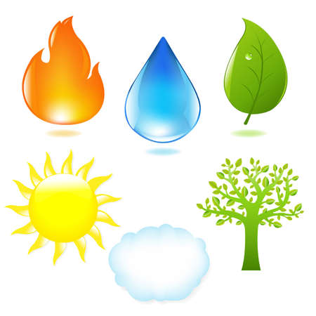 water drops on leaf: Nature Set Illustration