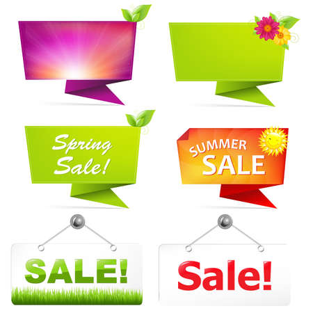 Sale Origami Banners, Vector Illustration Vector