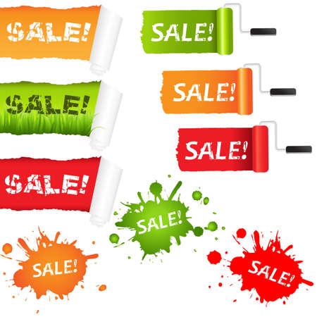 renewal: Set Sale Paper Elements, Vector Illustration Illustration
