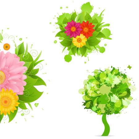 gerbera daisy: Flores abstractas Y Blot, aisladas sobre fondo blanco, ilustraci�n vectorial  Vectores