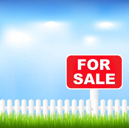 hedges: For Sale Sign With Grass And Blue Sky, Vector Illustration