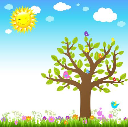 paysage dessin anim�: Paysage de dessin anim� avec Bird, Illustration vectorielle