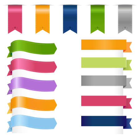 vertical banner: Ribbons Set, Isolated On White Background, Vector Illustration  Illustration