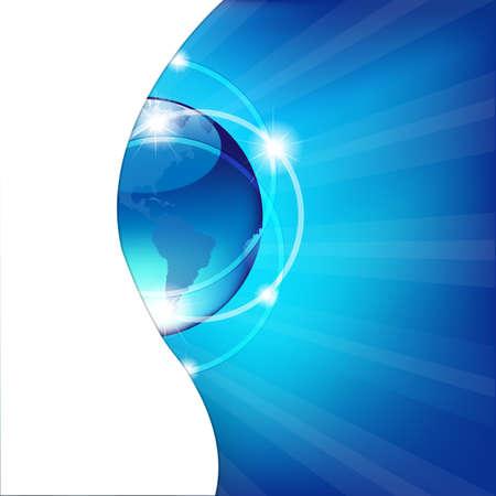 グローブと抽象的な青い背景