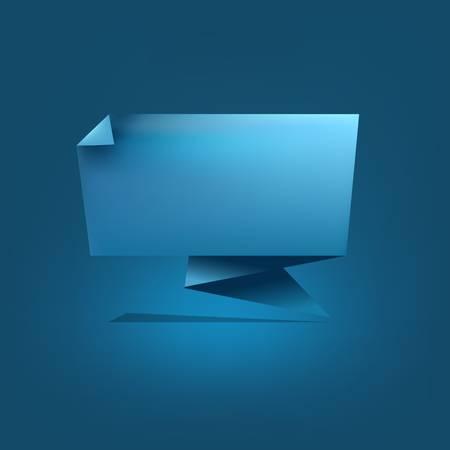 Blue Origami Speech Bubble Stock Vector - 10135962