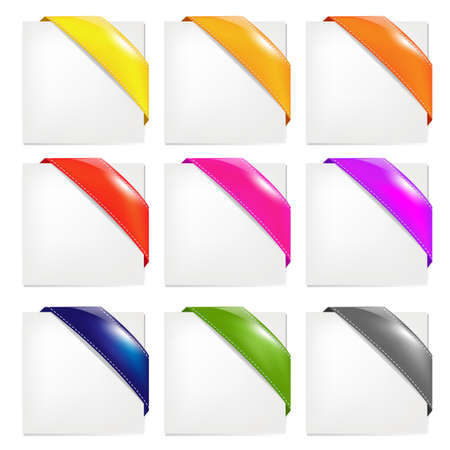Color Ribbons Set, Isolated On White Background Vector