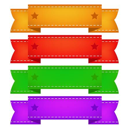 Kleur Linten Set, Geà ¯ soleerd Op Witte Achtergrond Vector Illustratie