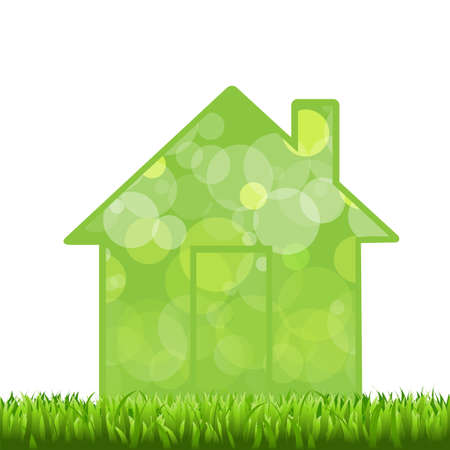 Grass And House, Isolated On White Background  Vector