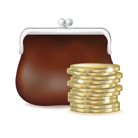 Purse And Money, Isolated On White Background Vector