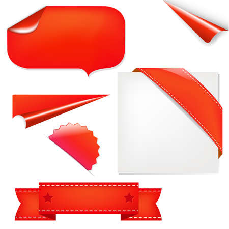 stiker: Red Set, Isolated On White Background