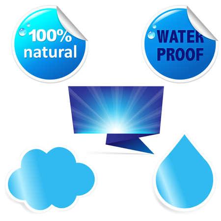 Water Sticker Set Vetores