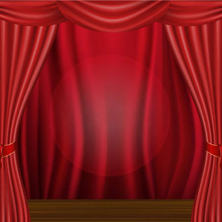 Wood Scene And Curtain  Vector