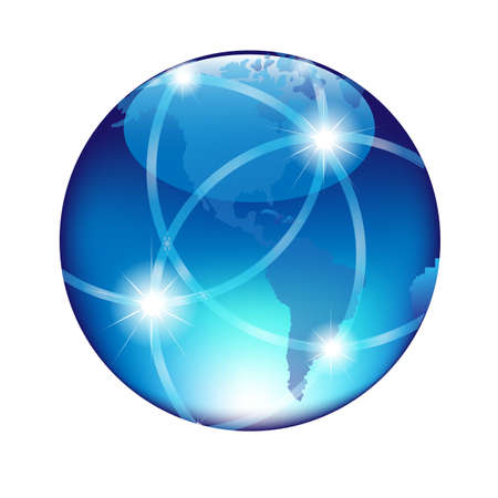 wire globe: Abstract Blue Globe, Isolated On White Background, Vector Illustration