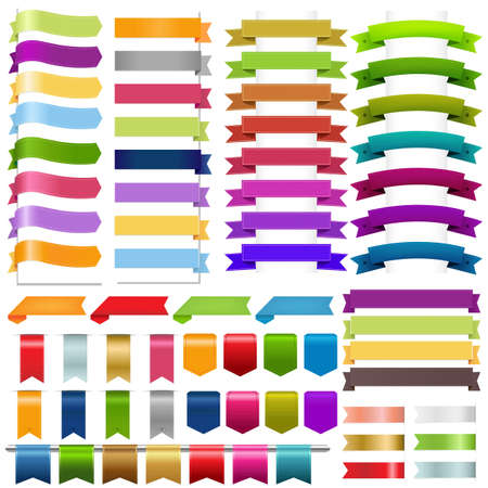 vertical banner: Ribbons Big Set, Isolated On White Background, Vector Illustration
