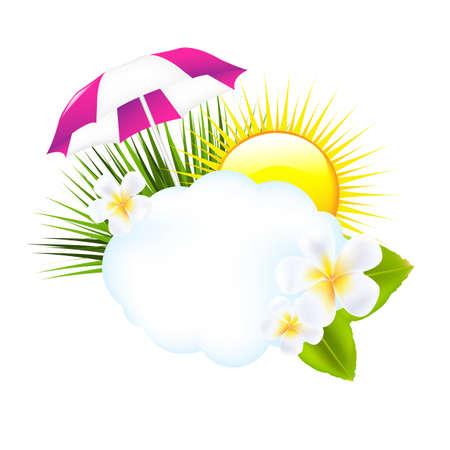ombrellone spiaggia: Illustrazione tropicale, isolato su sfondo bianco, illustrazione vettoriale