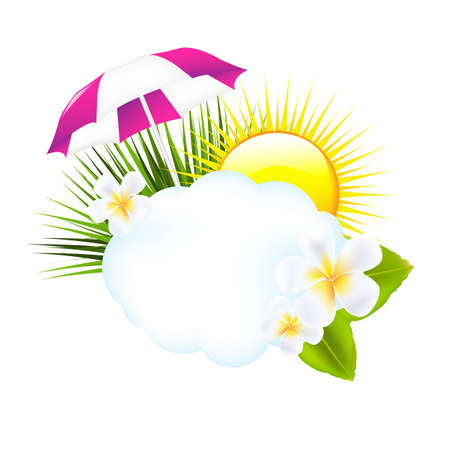 playa caricatura: Ilustraci�n tropical, aislada sobre fondo blanco, ilustraci�n vectorial