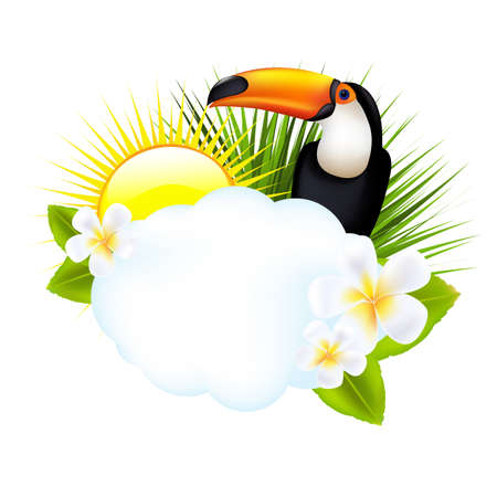 banana sheet: Tropical Illustration With Toucan, Isolated On White Background, Vector Illustration