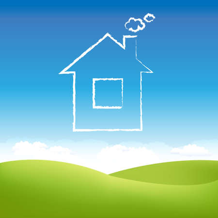 family outside house: Cloud House In Air Over Grass Field.