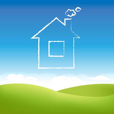 family grass: Nube de casa en el aire sobre un campo de c�sped.