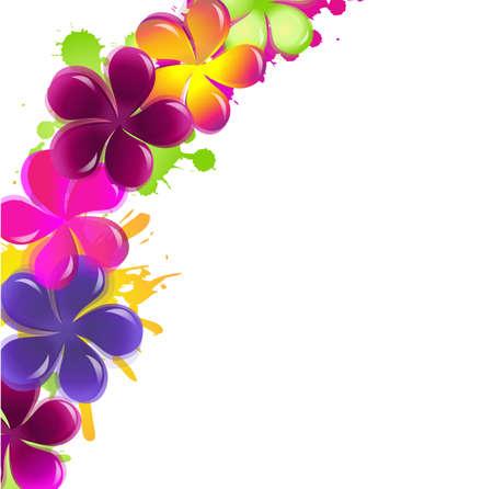Flores abstractas, aisladas sobre fondo blanco, ilustración vectorial