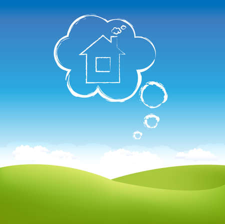 day dream: Cloud House In Air Over Grass Field, Vector Illustration