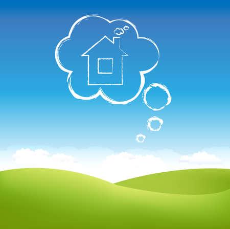 droomhuis: Cloud Huis In lucht over grasveld, Vector Illustratie