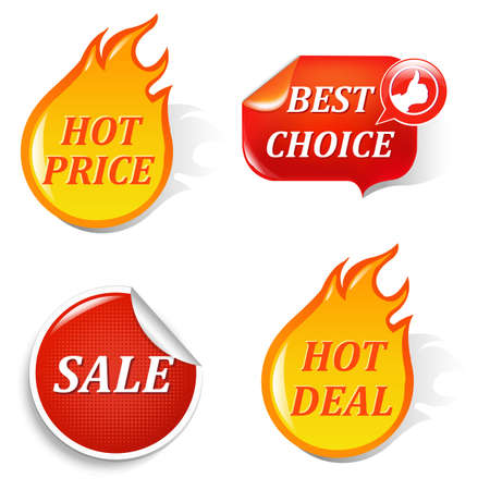 price: Sale Labels, Isolated On Black Background, Vector Illustration