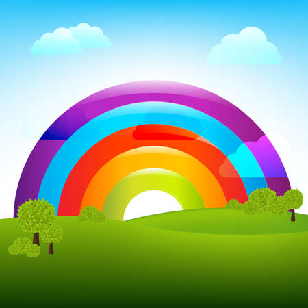 rainbow clouds: Landscape With Rainbow, Vector Illustration