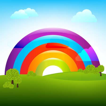computadora caricatura: Paisaje con arco iris, ilustraci�n vectorial Vectores