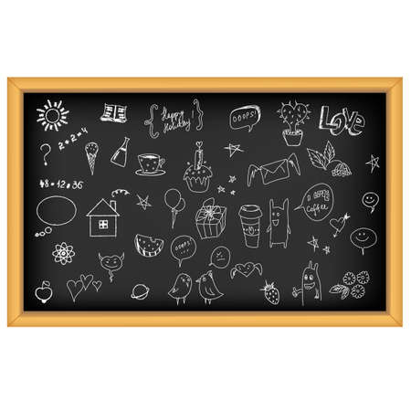 blackboard cartoon: School Board With Hand Drawn, Isolated On White Background