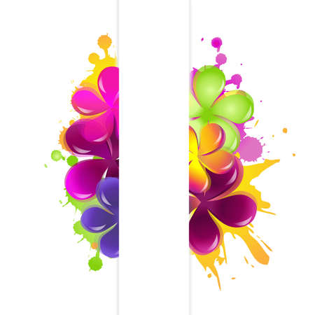 Abstract Flowers, Isolated On White Background. Vector