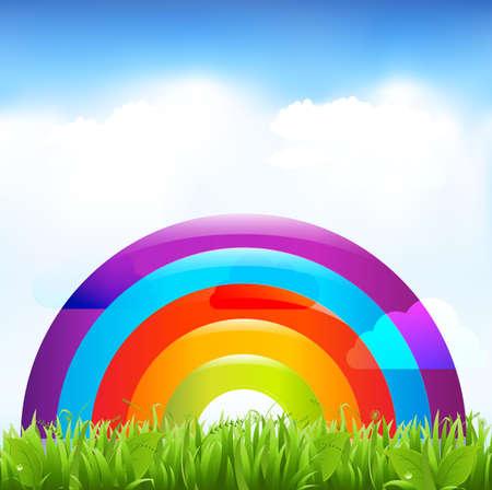 安らぎ: 虹と風景。