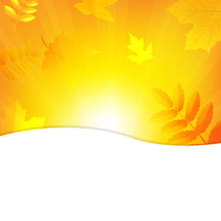 Autumn Background With Beams And Leaves.   Vector