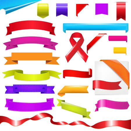 scroll up: Color Set, Ribbons Set, Isolated On White Background.