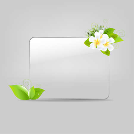 Glass Frame With Leafs And Flowers. Vector